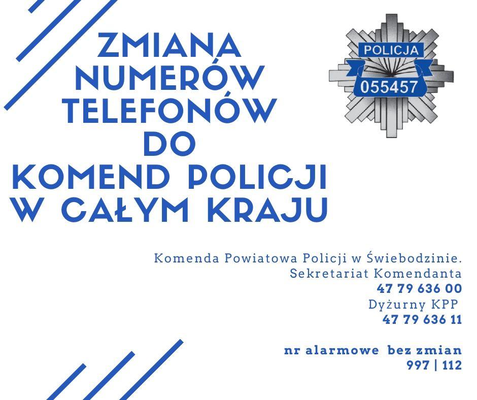 Ilustracja do informacji: Zmiana numerów telefonów komend policji