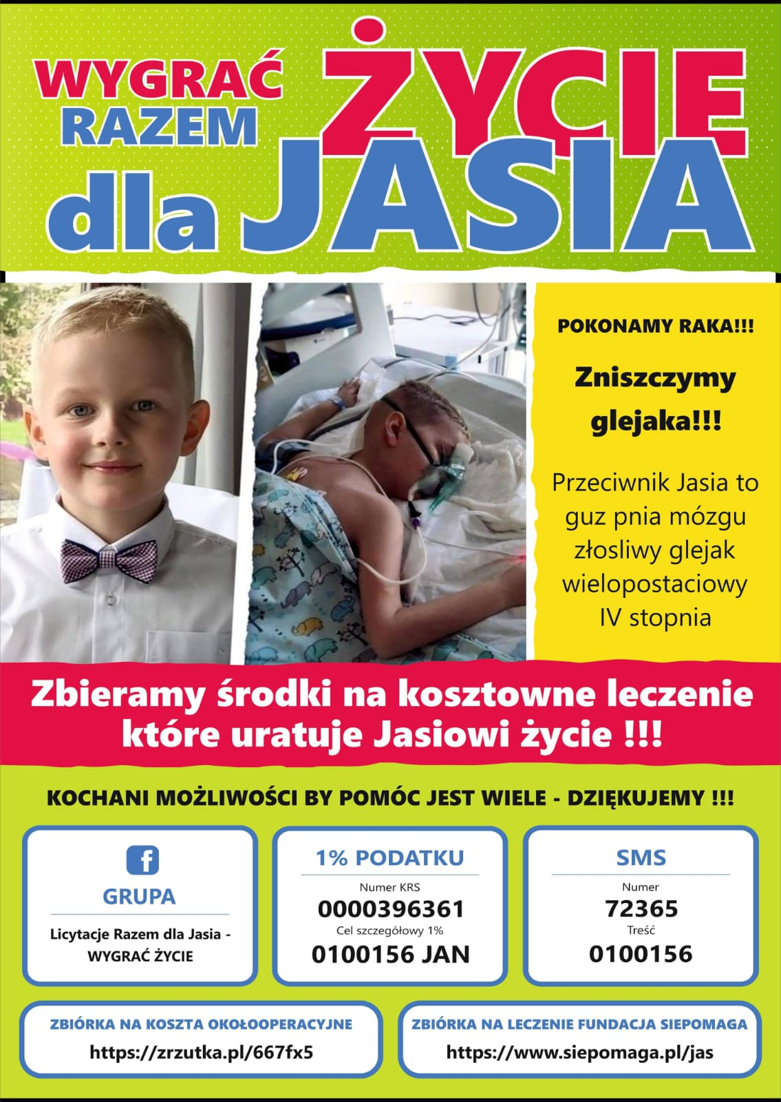 Ilustracja do informacji: Zbiórka dla Jasia